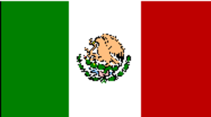 The flag of Mexico, to remember the colors think of a watermelon, green on the outside, followed by white and red.