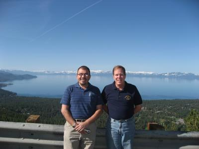 Juan Antonio and Henry, standing above Lake Tahoe